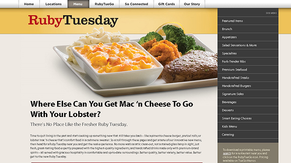 ruby tuesdays 16 Beautiful Restaurant Websites