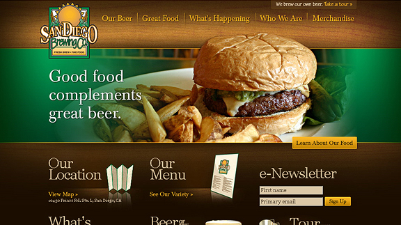 san diego brewing 16 Beautiful Restaurant Websites