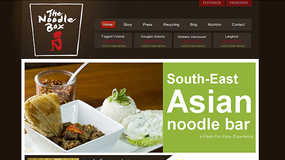 the noodle box 16 Beautiful Restaurant Websites