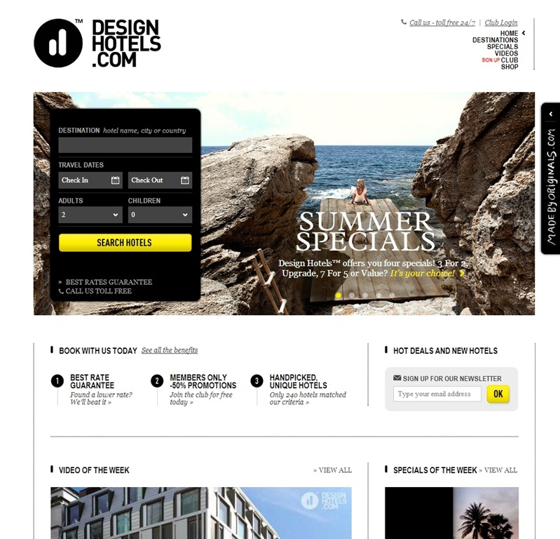 Design Hotels best travel website design
