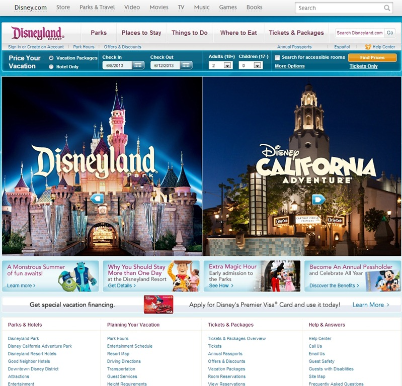 Disneyland best hotel website design