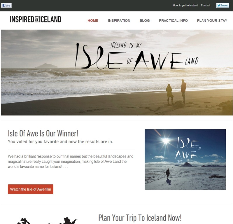 Inspired by Iceland hotel web design