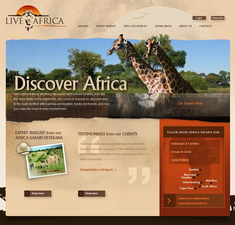 Live Africa travel website designs