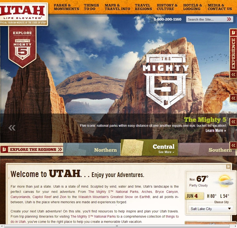 Visit Utah hotel website designs