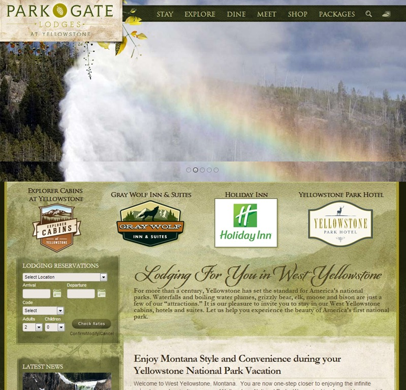 Yellowstone Park travel website designs