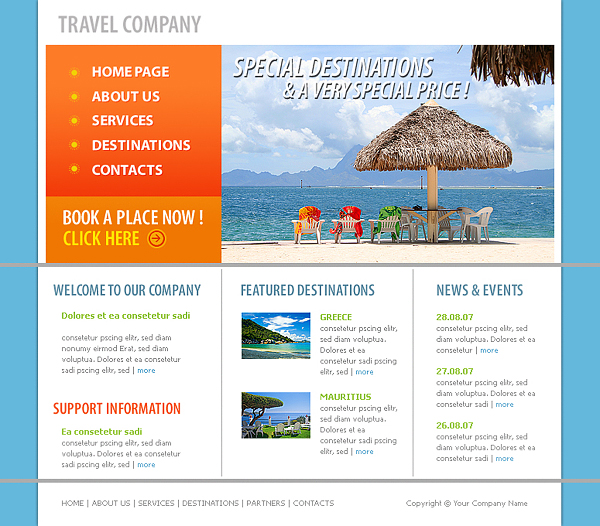 free travel html templates