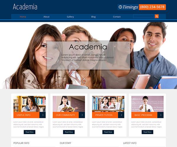 Mẫu thiết kế web giáo dục - Academia