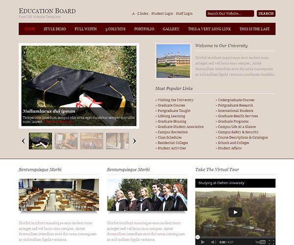 Mẫu thiết kế web giáo dục - Education Board