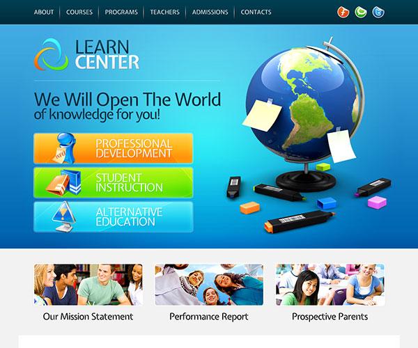 Mẫu thiết kế web giáo dục - Learn Center