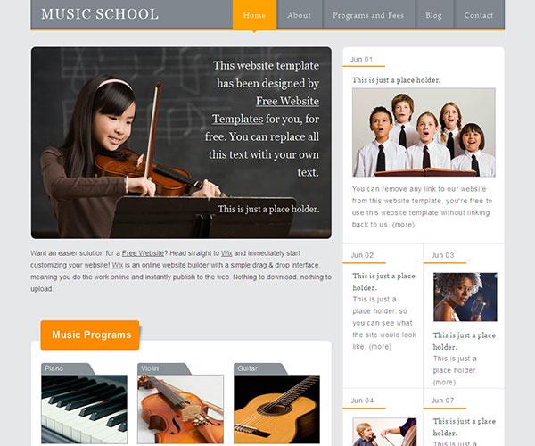 Mẫu thiết kế web giáo dục - Music School