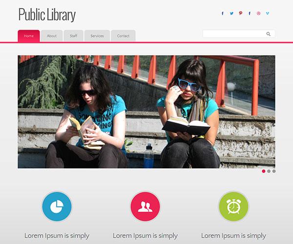 Mẫu thiết kế web giáo dục - Public Library