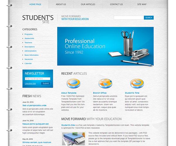Mẫu thiết kế web giáo dục - Student's Site
