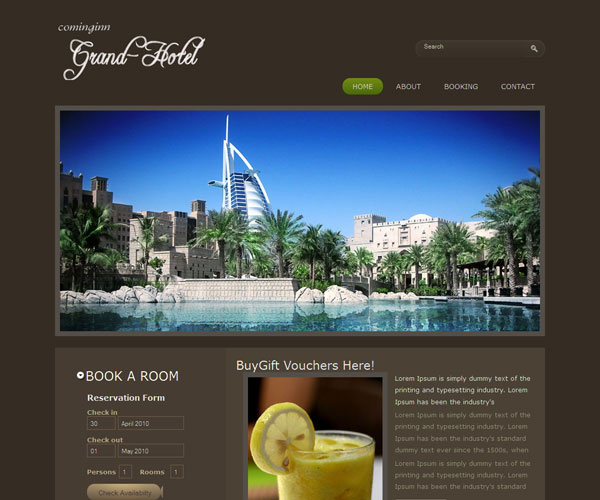 Tải về: Grand Hotel Website Template