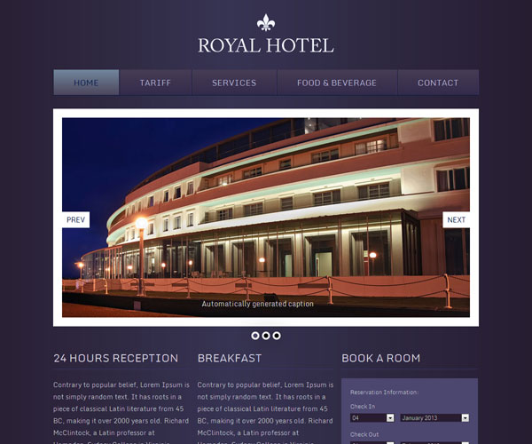 Tải về: Royal Hotel Website Template