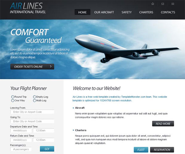 Free Airlines Company Website Template