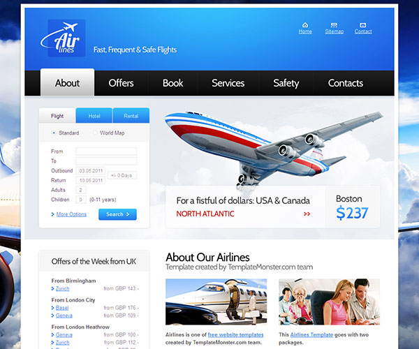 Free Airlines Website Template