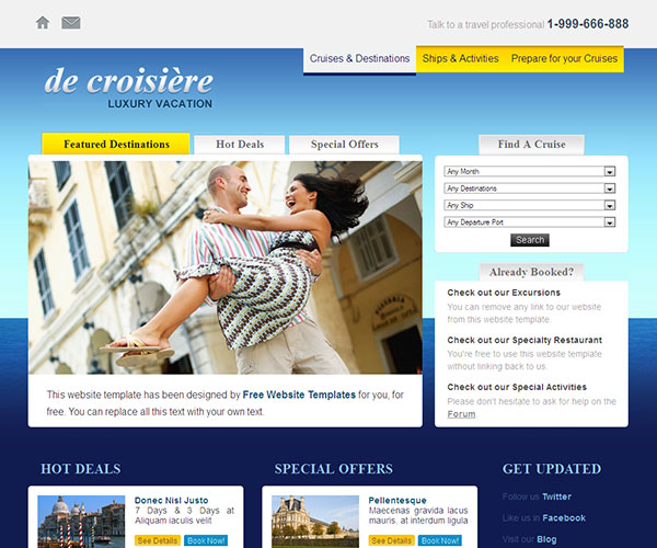 Free Cruise Vacation Website Template