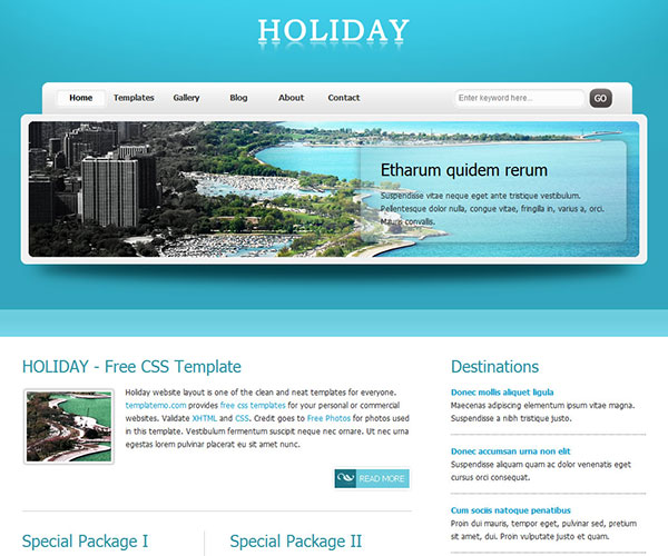 Free Holiday Website Template