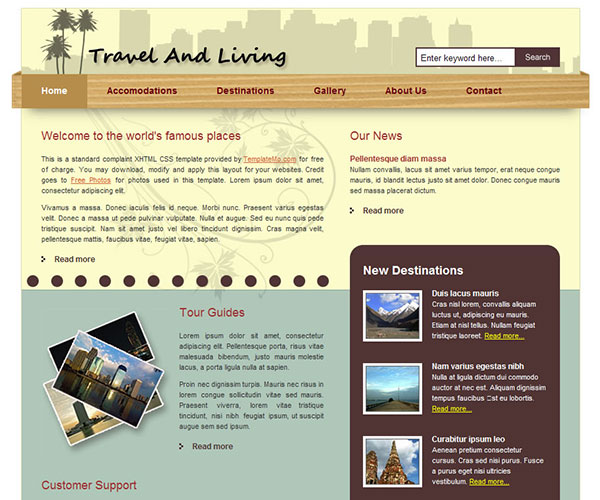 Free Travel and Living Website Template