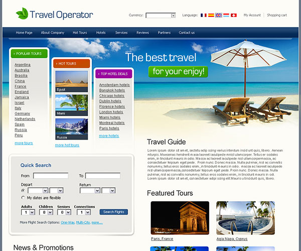 Free Travel Operator Website Template