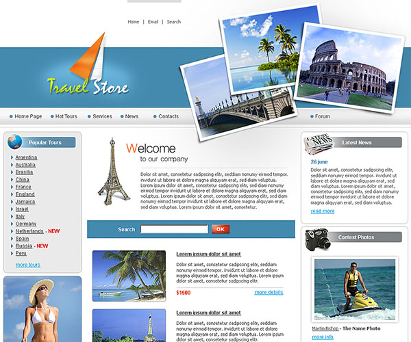 Free Travel Store Website Template