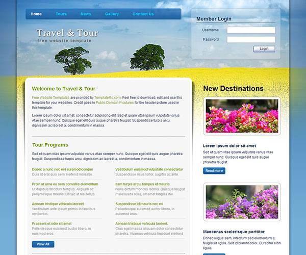 Free Travel & Tour Website Template