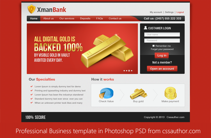 Beautiful Professional Business Template in Photoshop PSD for Free Download cssauthor.com 20 Beautiful Web Design Template PSD for Free Download