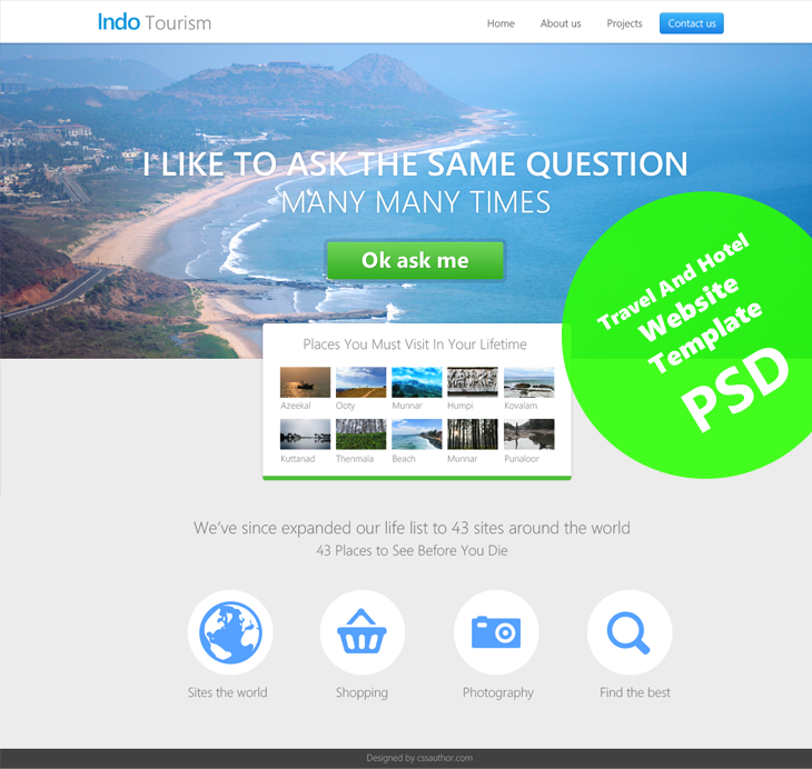 Beautiful Travel and Hotel Website Template PSD for Free Download cssauthor.com 20 Beautiful Web Design Template PSD for Free Download
