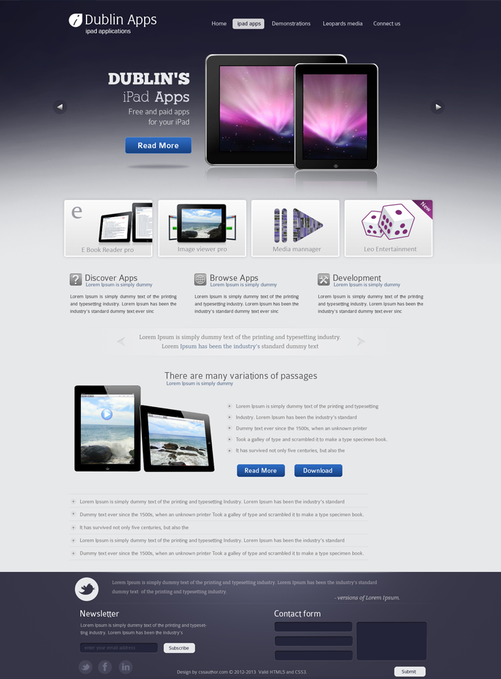 Dublin iPad Apps cssauthor.com 20 Beautiful Web Design Template PSD for Free Download