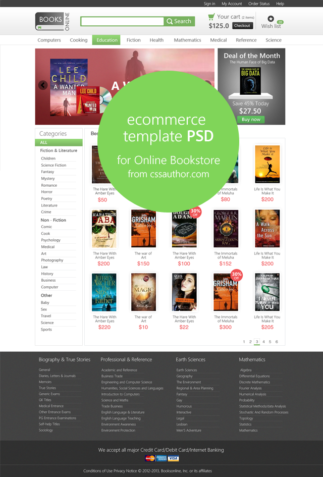 E commerce Home Page Template PSD for Online Bookstore cssauthor.com 20 Beautiful Web Design Template PSD for Free Download