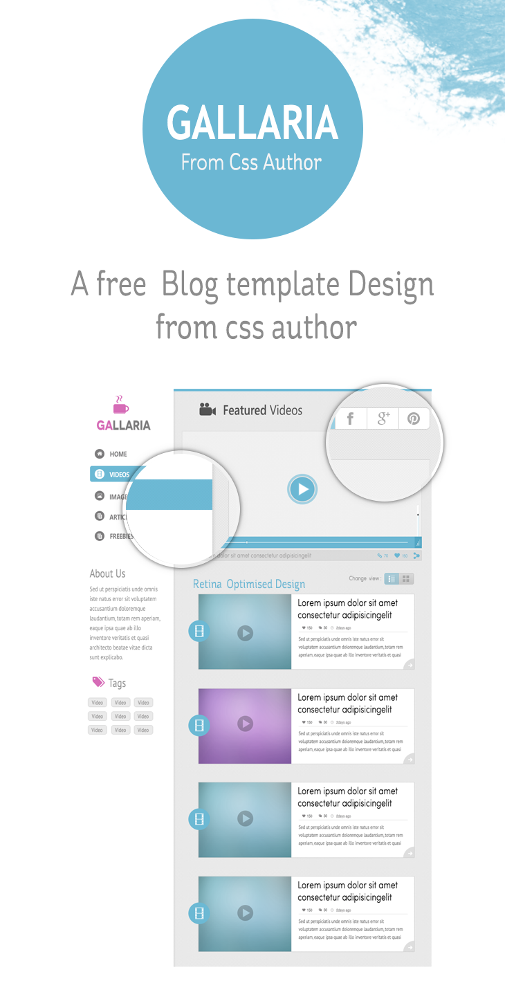 Gallaria – Free Blog Template Design cssauthor.com 20 Beautiful Web Design Template PSD for Free Download
