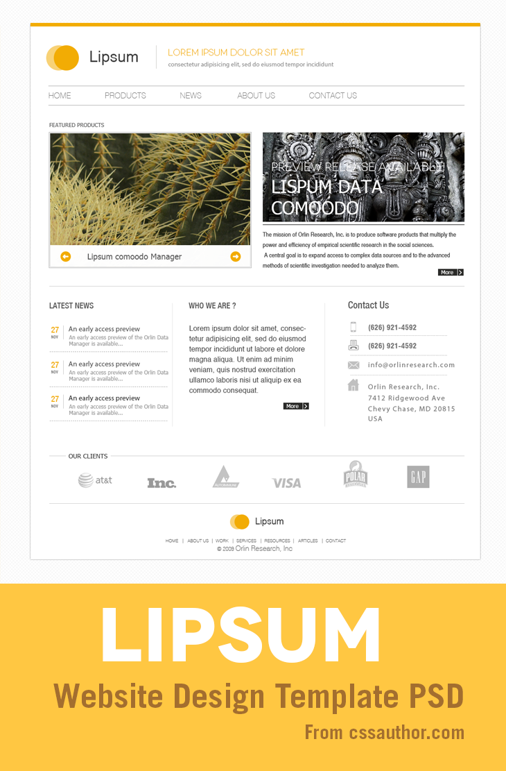 Minimal Website Design PSD Template for Free Download cssauthor.com 20 Beautiful Web Design Template PSD for Free Download