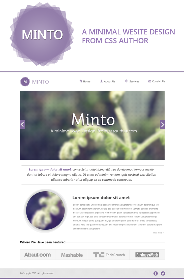 Minto – A Free Minimal Website Design Template PSD cssauthor.com 20 Beautiful Web Design Template PSD for Free Download