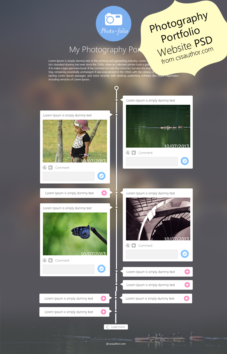 Photography Portfolio Website Template Design PSD cssauthor.com 20 Beautiful Web Design Template PSD for Free Download