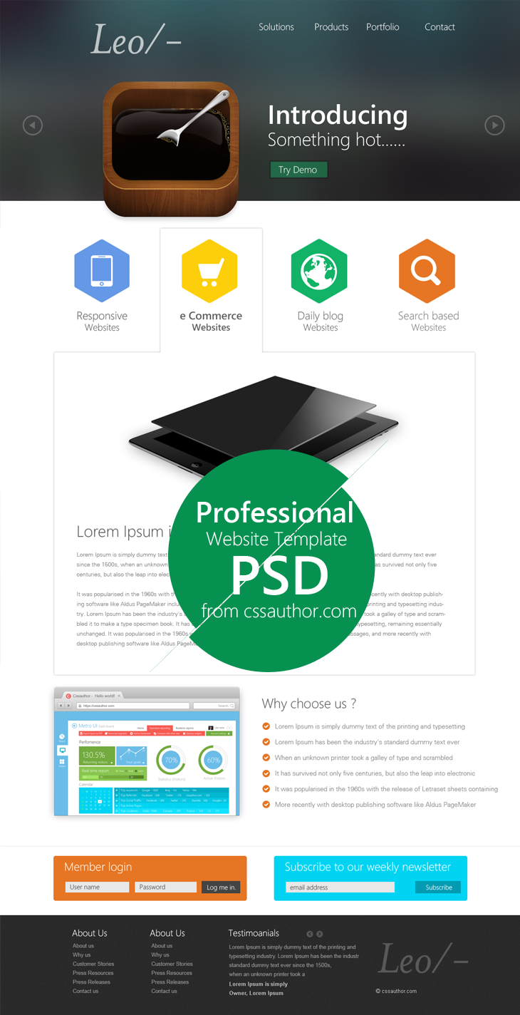Professional Website Template Design PSD cssauthor.com 20 Beautiful Web Design Template PSD for Free Download
