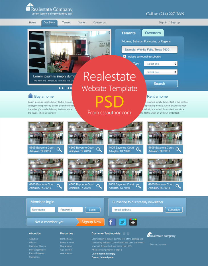 Real Estate Website Template PSD for Free Download cssauthor.com 20 Beautiful Web Design Template PSD for Free Download