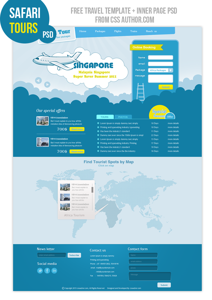 Safari Tours – Home Page cssauthor.com 20 Beautiful Web Design Template PSD for Free Download