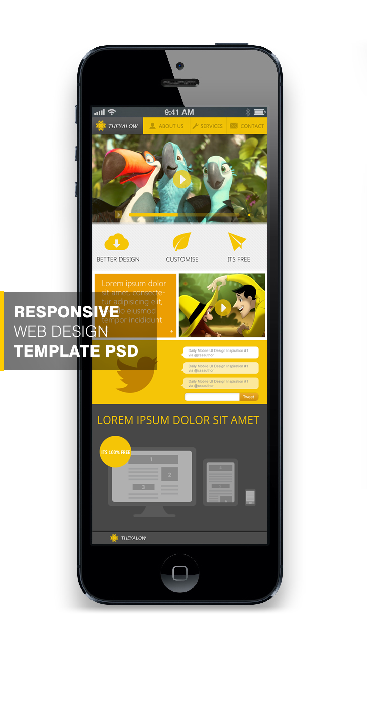 THEYALOW A Responsive Web Design Template PSD for Free Download cssauthor.com 20 Beautiful Web Design Template PSD for Free Download