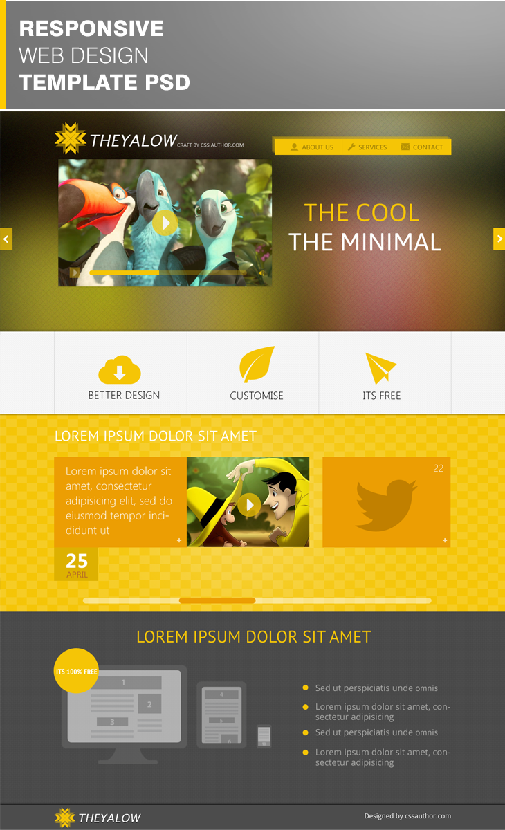 THEYALOW A Responsive Web 20 Beautiful Web Design Template PSD for Free Download