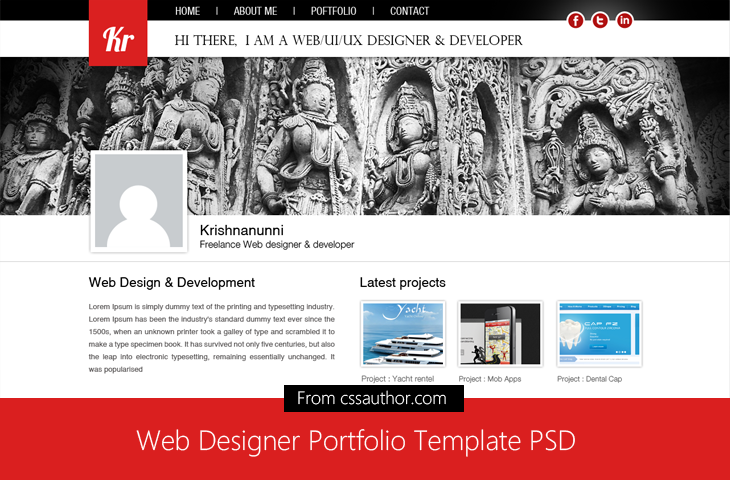 Web Designer Portfolio Template PSD for Free Download cssauthor.com 20 Beautiful Web Design Template PSD for Free Download