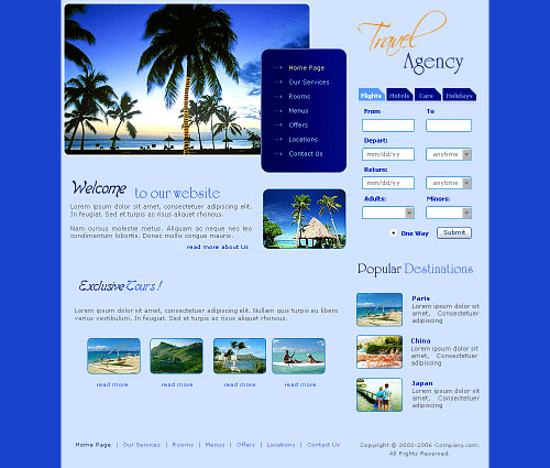 Giao diện web du lịch Travel Agency