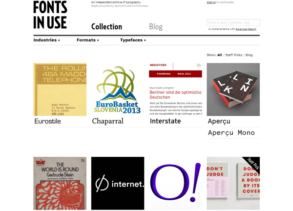 Typography Inspiration Website: Fonts In Use