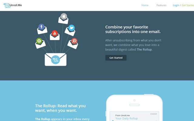 unroll me clean up inbox simple startup