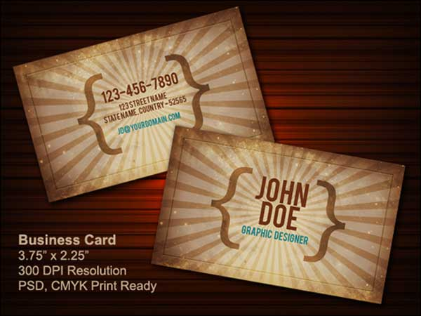 Free Vintage business card PSD (front & back)