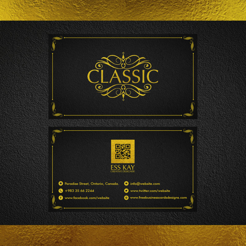 Golden-Foil-Classic-Business-Card-With-QR-Code-2015
