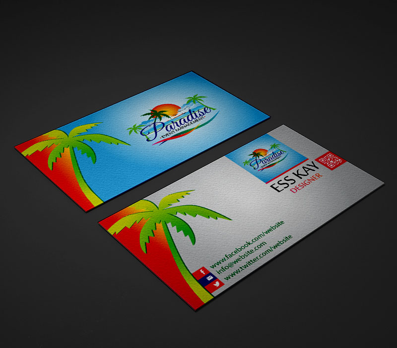 Paradise-Event-Management-Company-Business-Card-Template-Design-With-QR-Code-2015