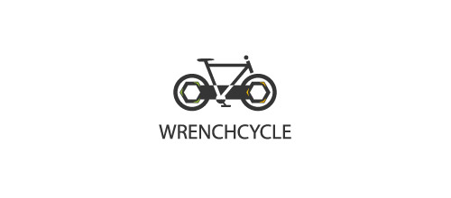 thiet ke logo xe dap wrench bicycle logo design
