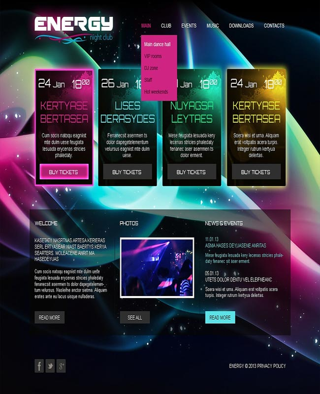 Energy - Exclusive Night Club Html thiet ke website chuyen nghiep