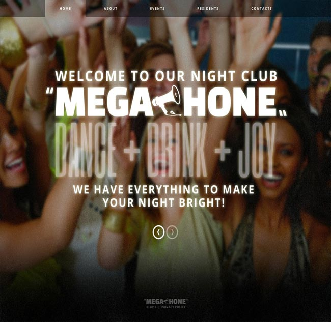Megahone - Dance Drinks Party thiet ke website chuyen nghiep