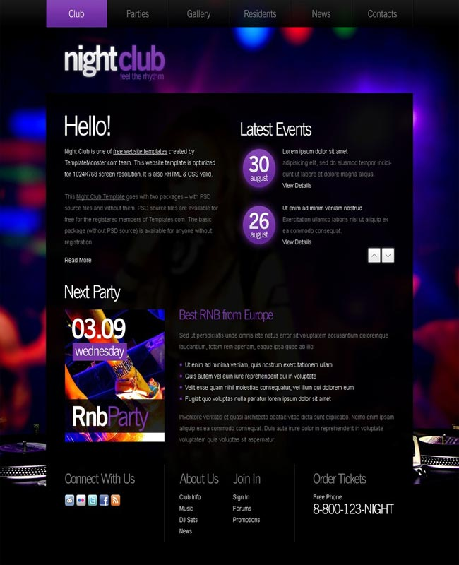 NightClub Dance - thiet ke website mien phi